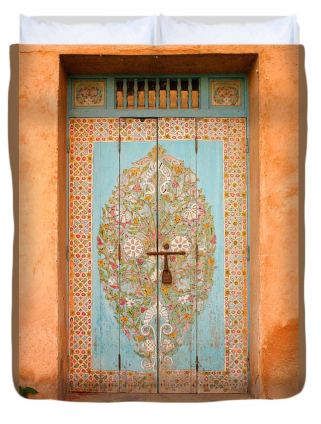 Door Duvet Cover featuring the photograph Colourful Moroccan Entrance Door Sale Rabat Morocco by Ralph A Ledergerber-Photography