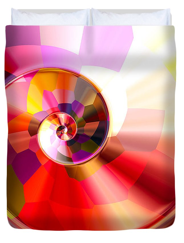 Colorful Duvet Cover featuring the digital art Colourful Tiled Spiral by Hakon Soreide