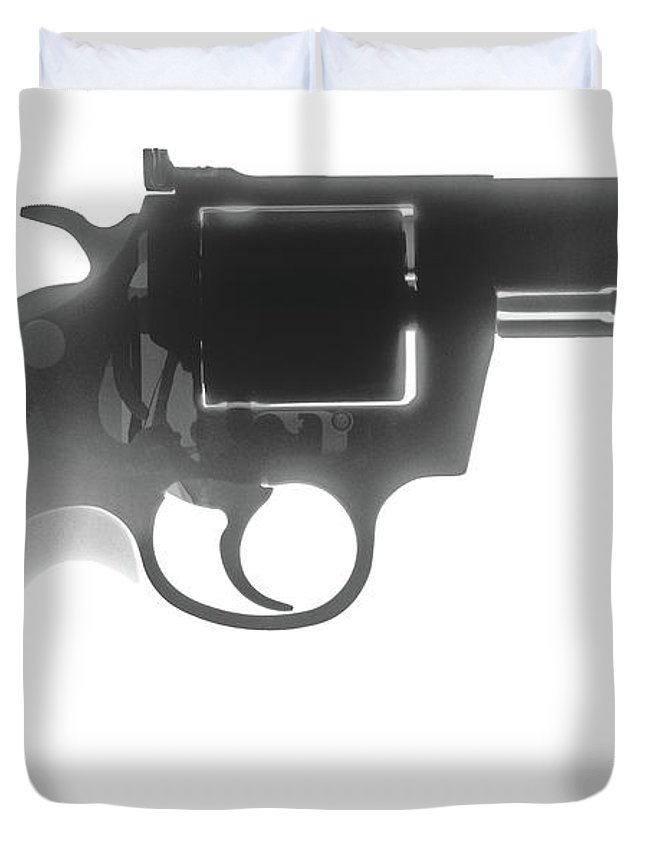 Gun Collectible Duvet Cover featuring the photograph Colt 357 Magnum X Ray Photograph by Ray Gunz