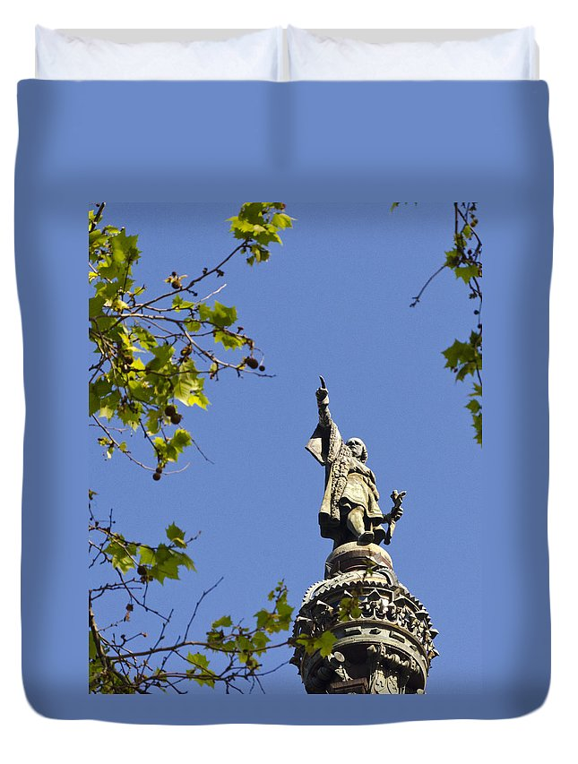 Barcelona Duvet Cover featuring the photograph Columbus Monument - Barcelona by Jon Berghoff