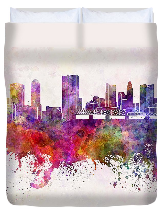 Columbus Skyline Duvet Cover featuring the painting Columbus Skyline In Watercolor Background by Pablo Romero