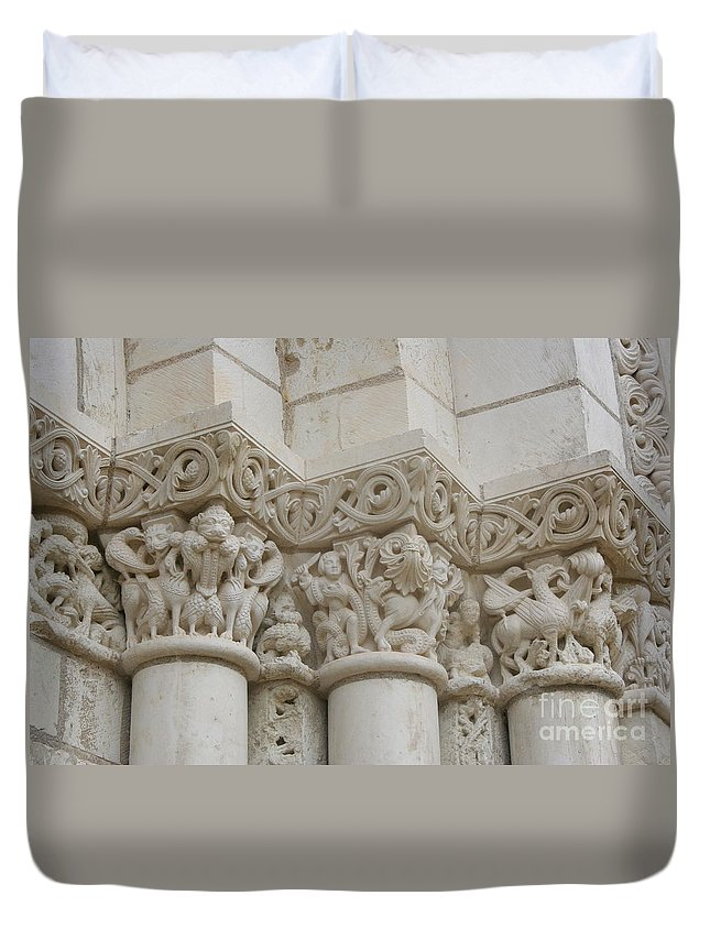 Frieze Duvet Cover featuring the photograph Column Relief Abbey Fontevraud by Christiane Schulze Art And Photography