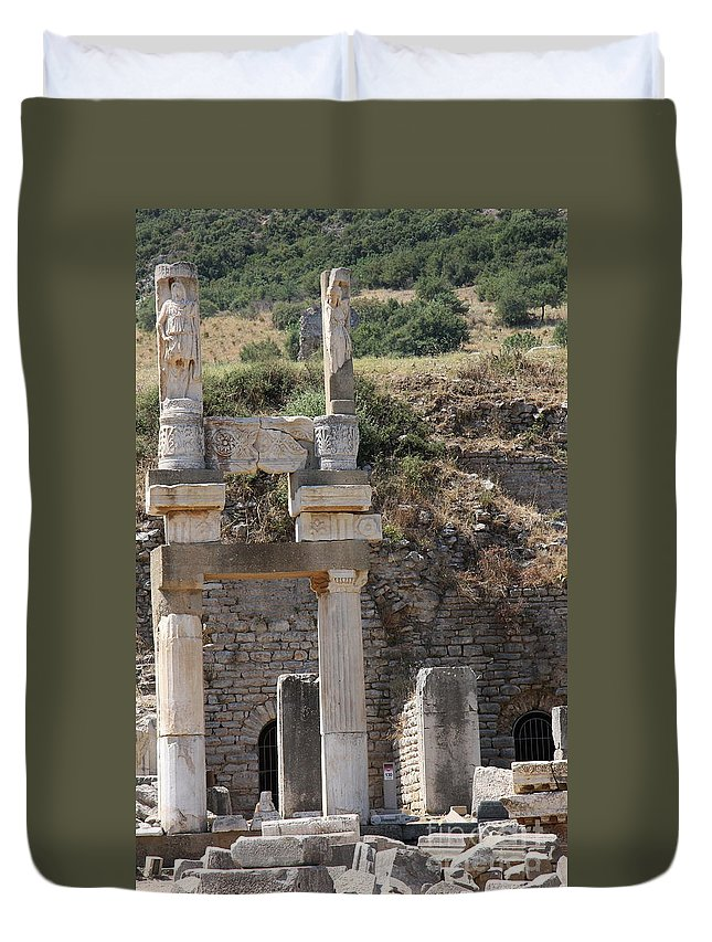 Columns Duvet Cover featuring the photograph Columns And Sculptures by Christiane Schulze Art And Photography