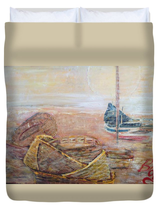 Beach Duvet Cover featuring the painting Colva by Peggy Blood
