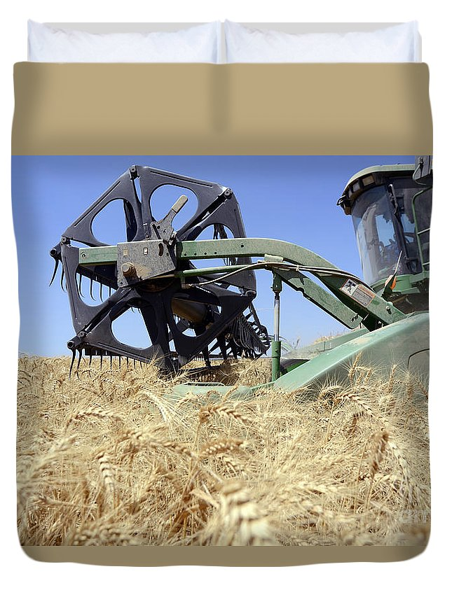 Combine Harvester Duvet Cover featuring the photograph Combine Harvester by Shay Fogelman