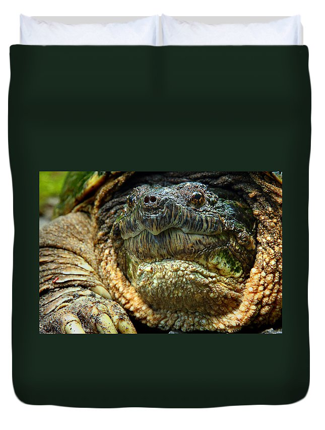 Snapping Turtle Duvet Cover featuring the photograph Come A Little Closer Please by Michael Eingle
