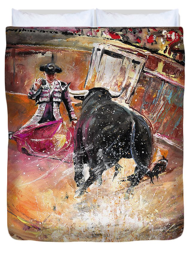 Bullfight Duvet Cover featuring the painting Come If You Dare by Miki De Goodaboom