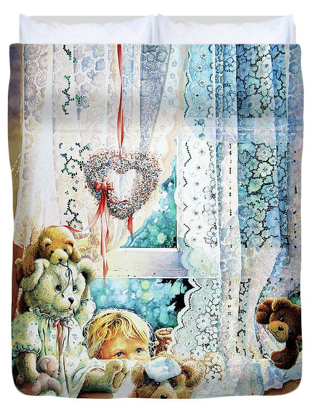 Teddy Bear Duvet Cover featuring the painting Come Out And Play Teddy by Hanne Lore Koehler