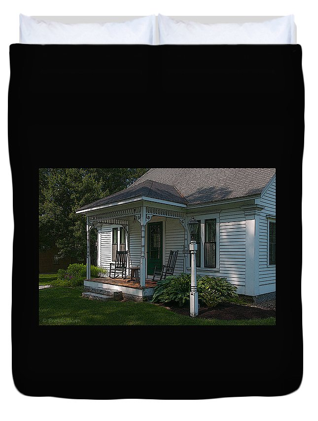 Melvin Village Duvet Cover featuring the photograph Come Sit On My Porch by Brenda Jacobs