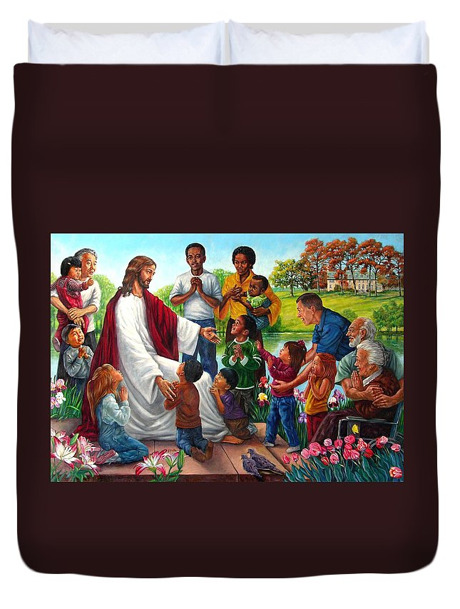 Children Duvet Cover featuring the painting Come Unto Me by John Lautermilch