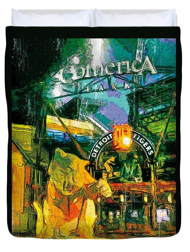American League Duvet Cover featuring the painting Comerica At Night by John Farr