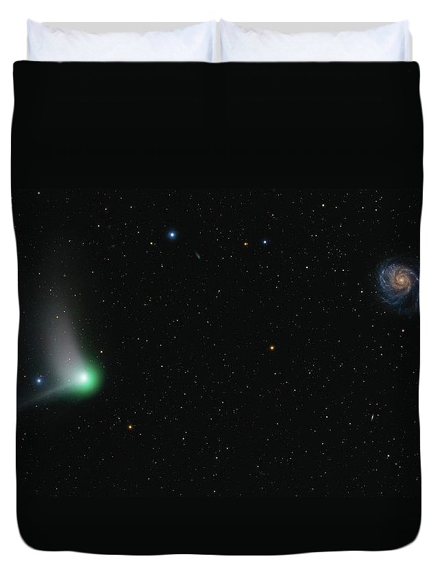 Horizontal Duvet Cover featuring the photograph Comet Catalina And Messier 101 Pinwheel by Lorand Fenyes