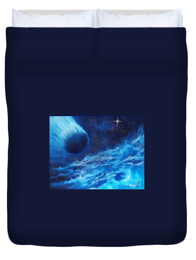 Astro Duvet Cover featuring the painting Comet Experience by Murphy Elliott