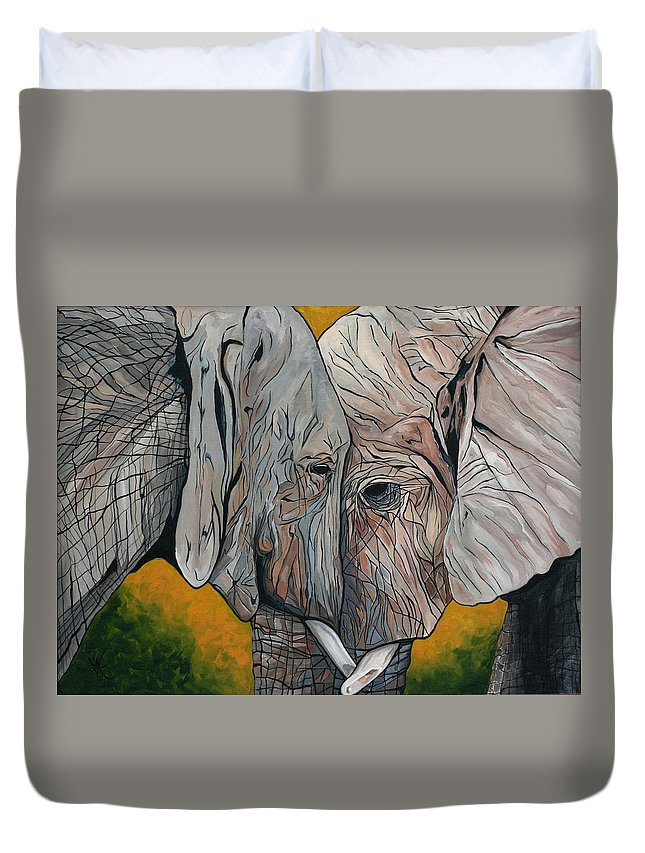 Elephant Duvet Cover featuring the painting Comfort by Aimee Vance