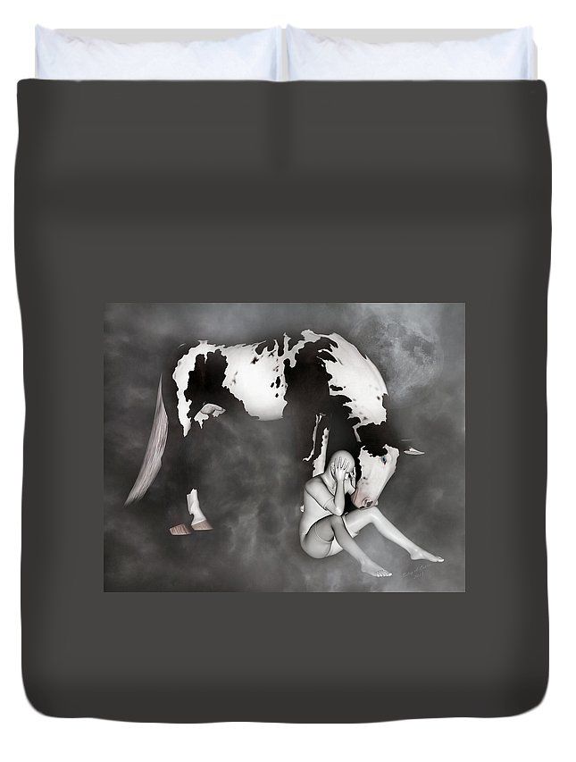 Horse Duvet Cover featuring the mixed media Comfort by Betsy Knapp