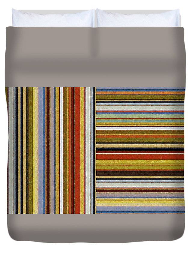 Textural Duvet Cover featuring the painting Comfortable Stripes Lx by Michelle Calkins