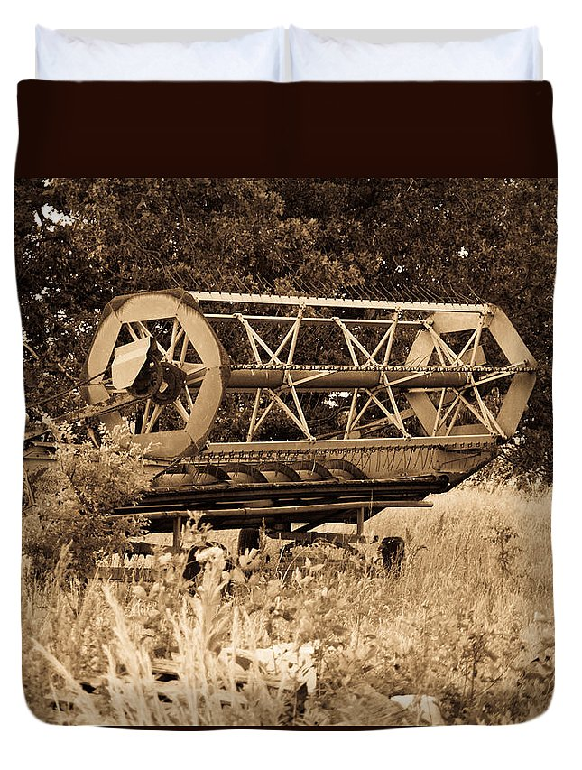 Combine Duvet Cover featuring the photograph Comgine Wheel In Sepia by Douglas Barnett