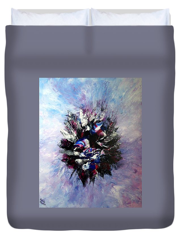 Abstract Duvet Cover featuring the painting Coming From The Other Side Of Life by Isabelle Vobmann