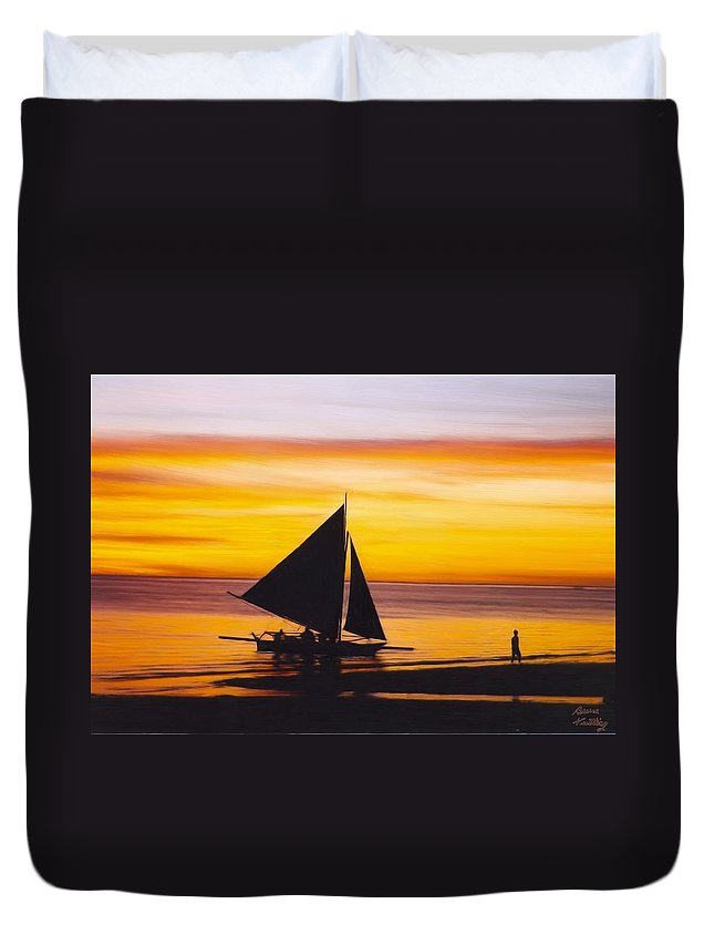 Sunset. Boat Duvet Cover featuring the painting Coming Home by Bruce Nutting