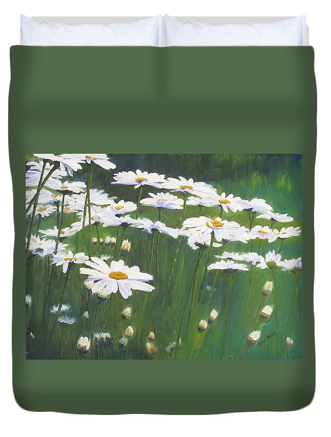 Flowers Duvet Cover featuring the painting Coming Up Daisies by Lea Novak