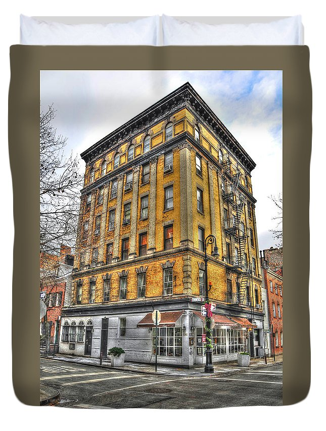 Commerce Street Duvet Cover featuring the photograph Commerce Street Architecture by Randy Aveille
