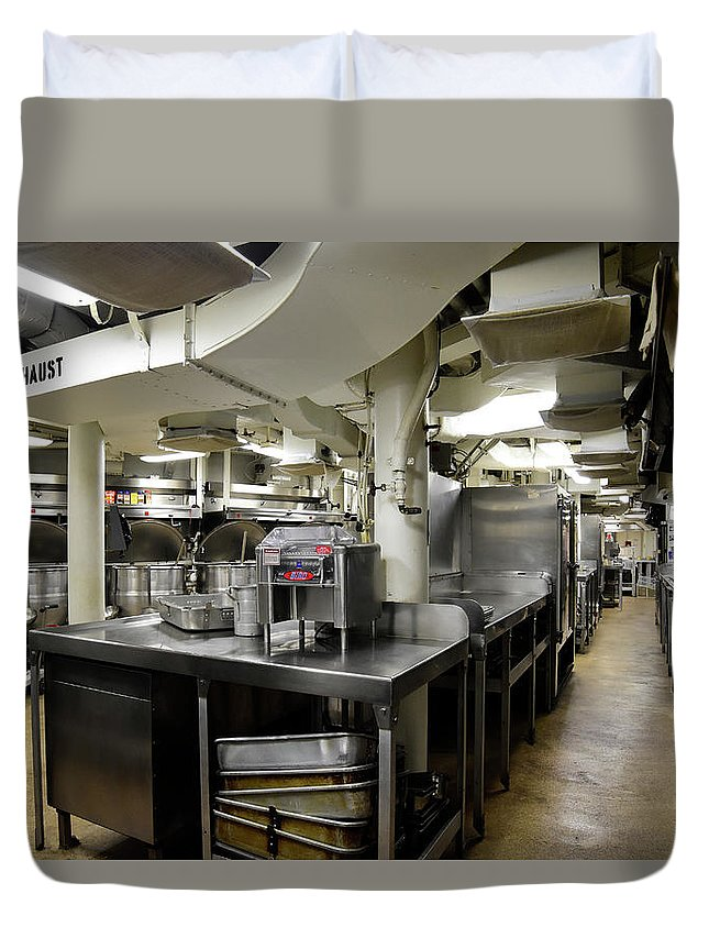 Horizontal Duvet Cover featuring the photograph Commercial Kitchen Aboard Battleship by Stocktrek Images