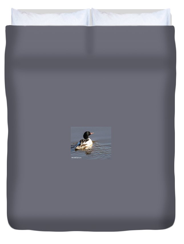 Ducks Duvet Cover featuring the photograph Common Menganser by Brian Williamson