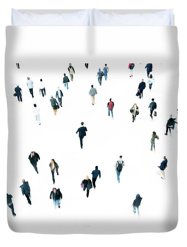 Working Duvet Cover featuring the photograph Commuters by Ferrantraite