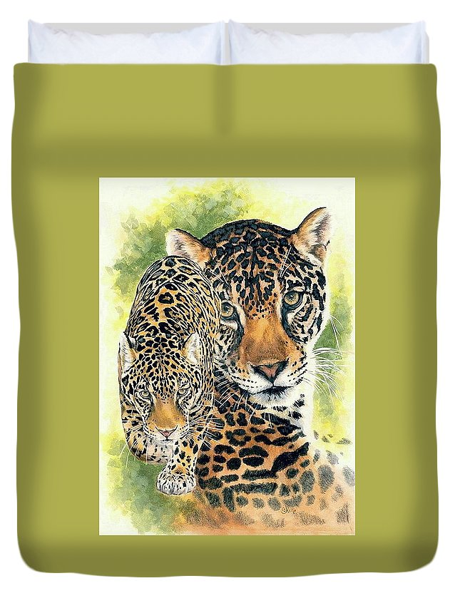 Jaguar Duvet Cover featuring the mixed media Compelling by Barbara Keith
