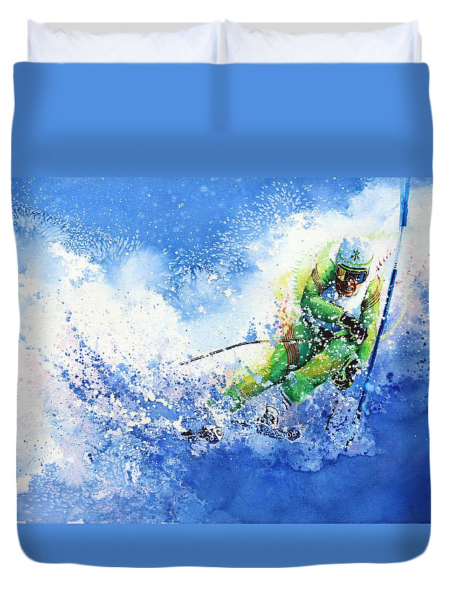Olympic Sports Duvet Cover featuring the painting Competitive Edge by Hanne Lore Koehler