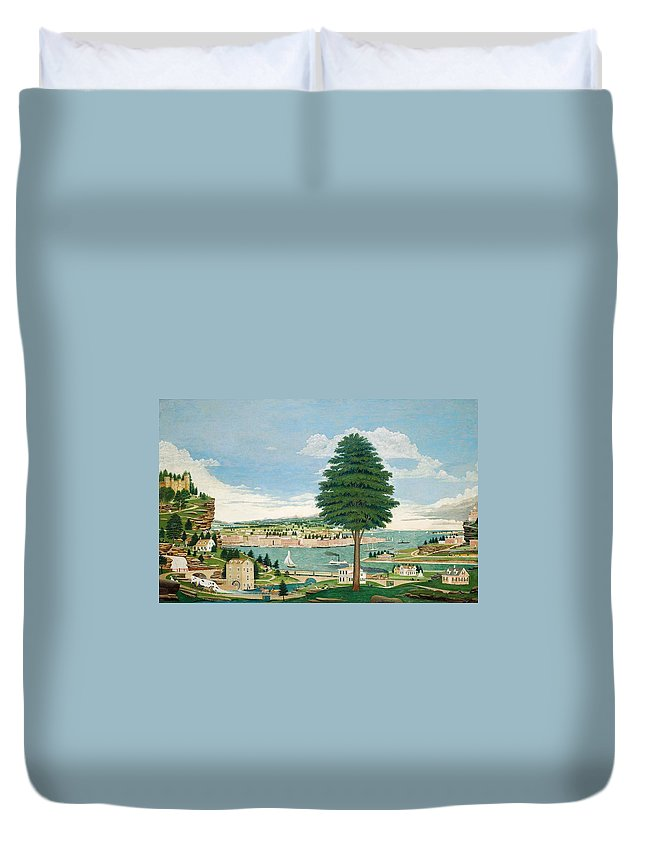 Harbor Duvet Cover featuring the painting Composite Harbor Scene With Castle by Jurgen Frederick Huge
