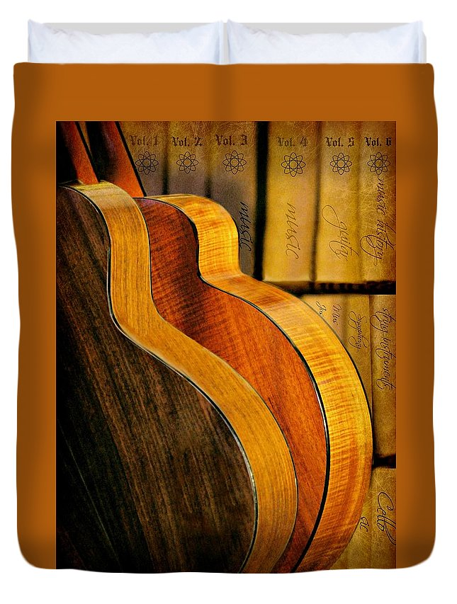 Guitars Duvet Cover featuring the photograph The Shape Of Music by Diana Angstadt