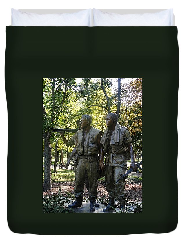 Iron Sculpture Duvet Cover featuring the photograph Comrades  by Natalie Ortiz