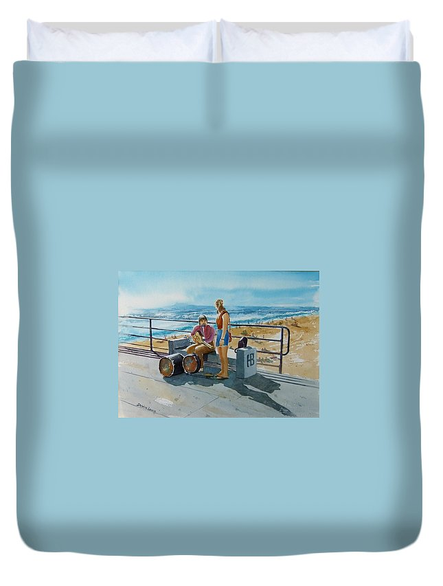 Music Duvet Cover featuring the painting Concert In The Sun To An Audience Of One by Debbie Lewis