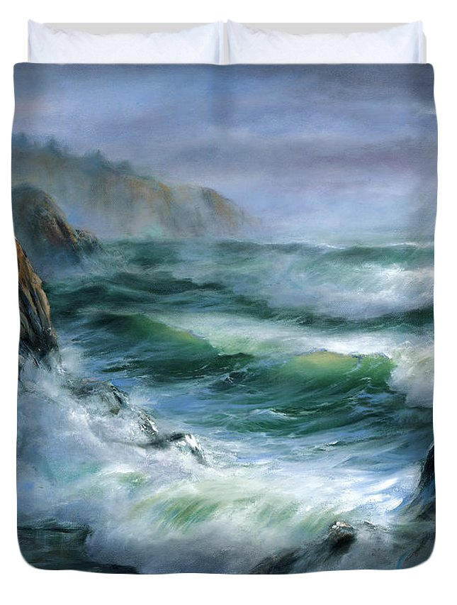 Transparent Wave Duvet Cover featuring the painting Concerto by Sharon Abbott-Furze