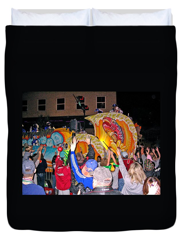 Mardi Gras Mobile Alabama Duvet Cover featuring the photograph Conde Cavaliers Beer Thirty by Marian Bell