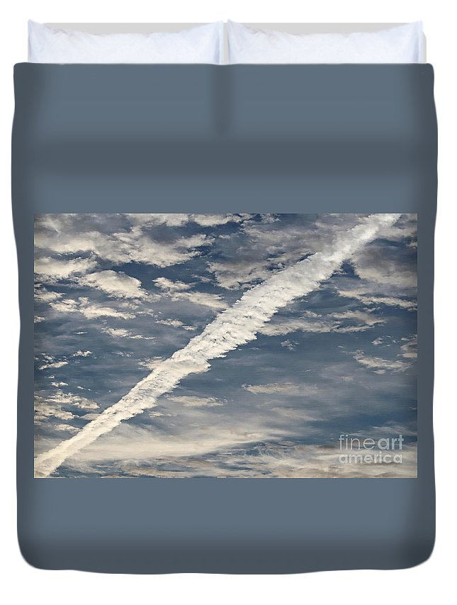 Condensation Trails - Contrails - Airplane Duvet Cover featuring the photograph Condensation Trails - Contrails - Airplane by Barbara Griffin