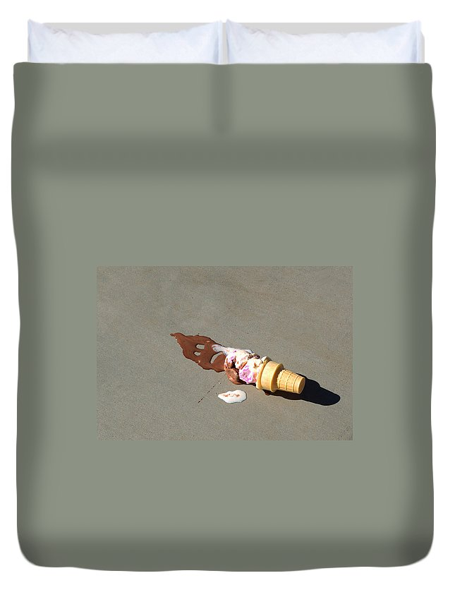 Ice Cream Cone Melted Duvet Cover featuring the photograph Cone Death by Paula Contreras