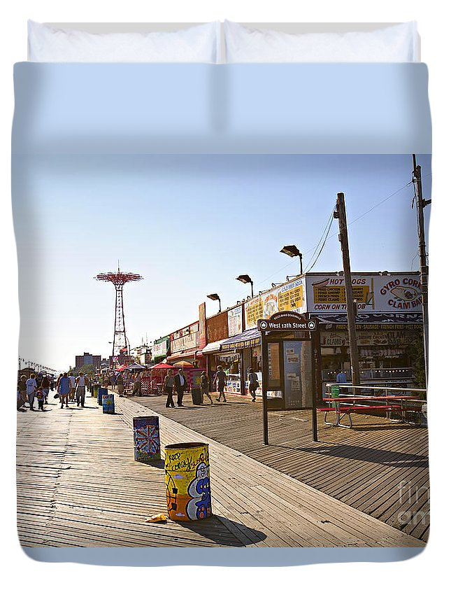 Coney Island Duvet Cover featuring the photograph Coney Island Memories 8 by Madeline Ellis