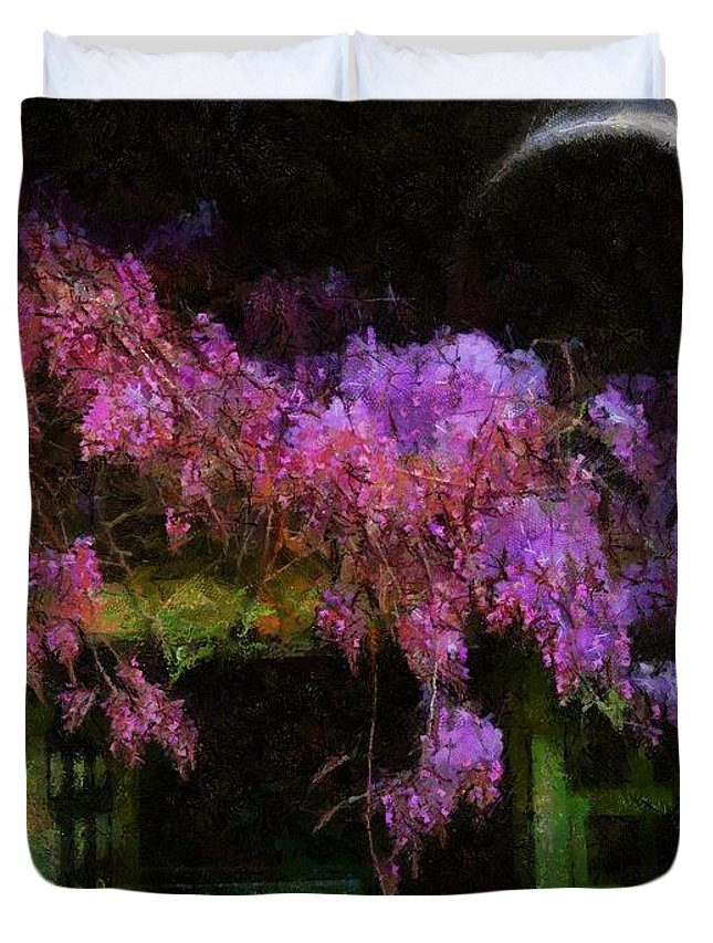 Wisteria Duvet Cover featuring the painting Confetti Of Blossoms by RC DeWinter