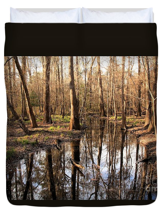 Congaree National Park Duvet Cover featuring the photograph Congaree Reflections by Adam Jewell