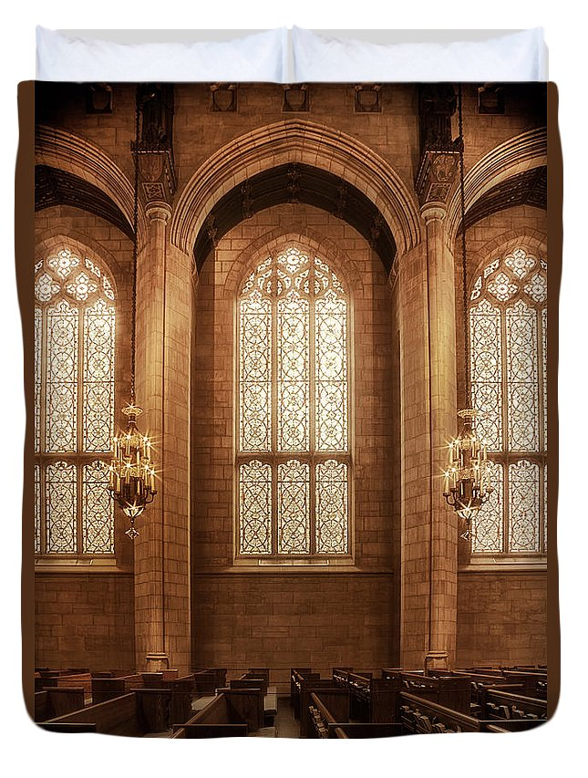 Temple; Religion; Light; Illuminated; Bright; Colorful; Religious; Building; Worship; Arch; Gothic; Window; Stained Glass; Inside; Indoors; Interior; Pew; Rows; Wall; Ornate; Lovely; Beautiful; Relaxing; Calm; No One; Empty Duvet Cover featuring the photograph Congregation by Margie Hurwich