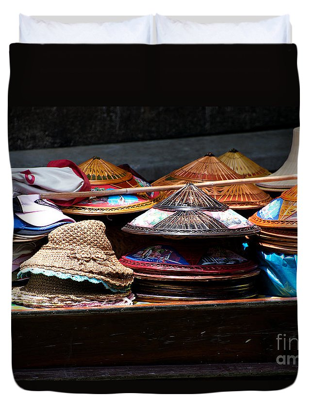 Asian Conical Hats Duvet Cover featuring the photograph Conical Hats 01 by Yew Kwang