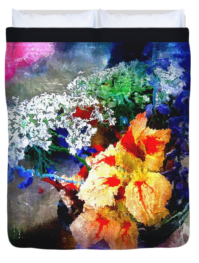 Delphinium Duvet Cover featuring the digital art Conjuring Claude Monet by RC DeWinter