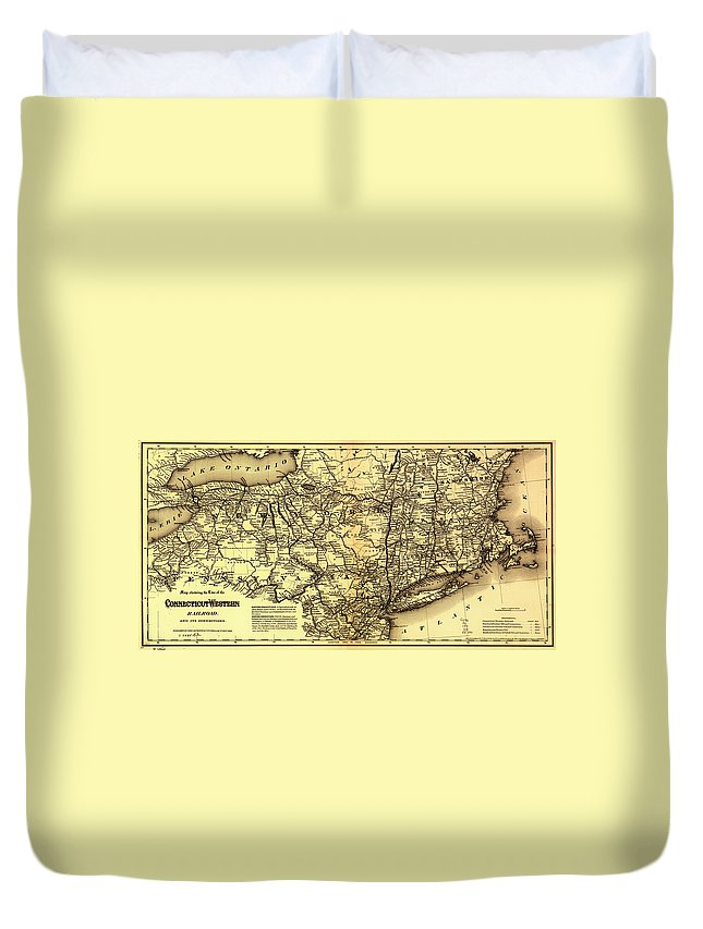 Map Duvet Cover featuring the drawing Connecticut And Western Railroad Map 1871 by Mountain Dreams