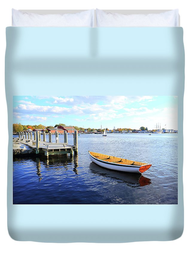 Steps Duvet Cover featuring the photograph Connecticut Mystic Seaport by Shunyufan