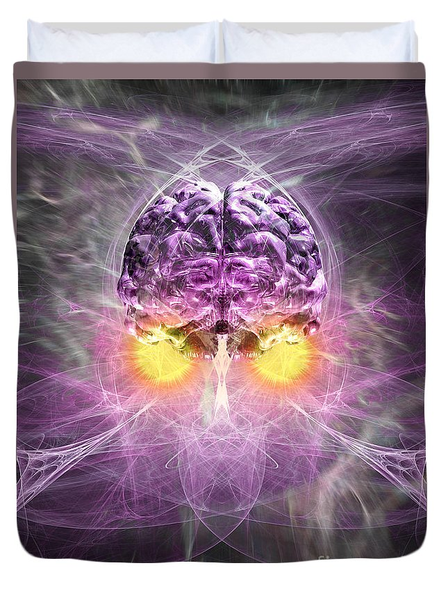 Anima Duvet Cover featuring the digital art Consciousness 1 by Russell Kightley