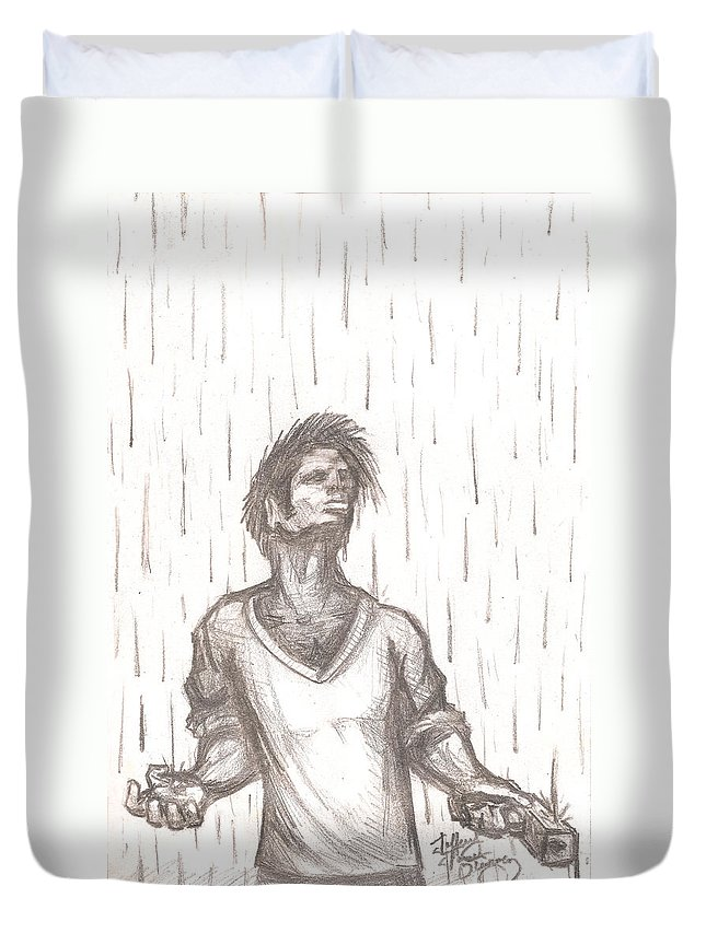 Man Duvet Cover featuring the drawing Consequence by Jeffrey Oleniacz