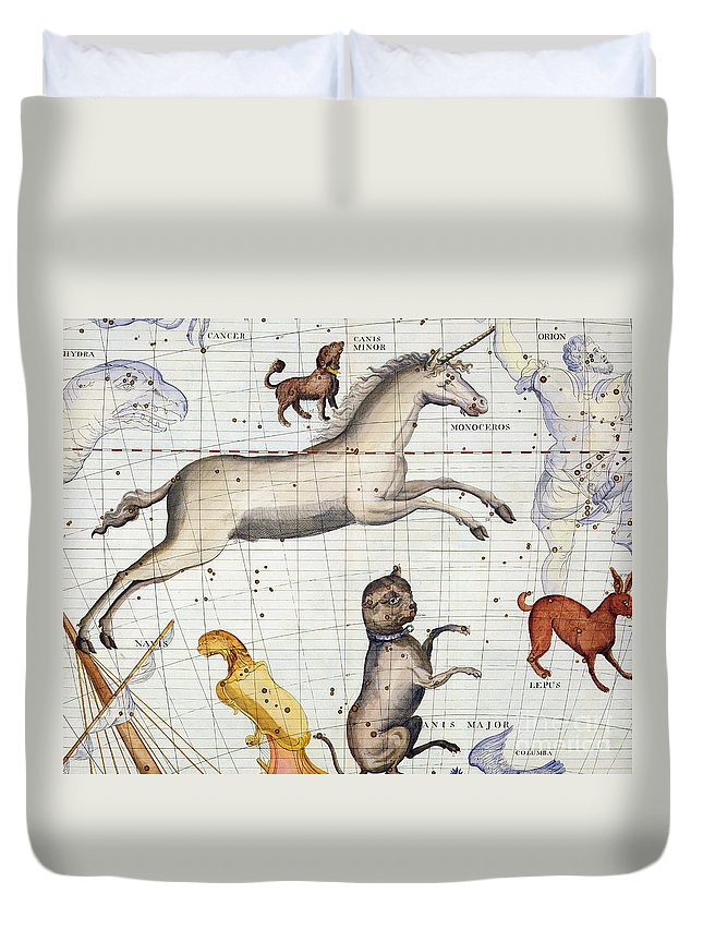 Map Duvet Cover featuring the painting Constellation of Monoceros with Canis Major and Minor by Sir James Thornhill