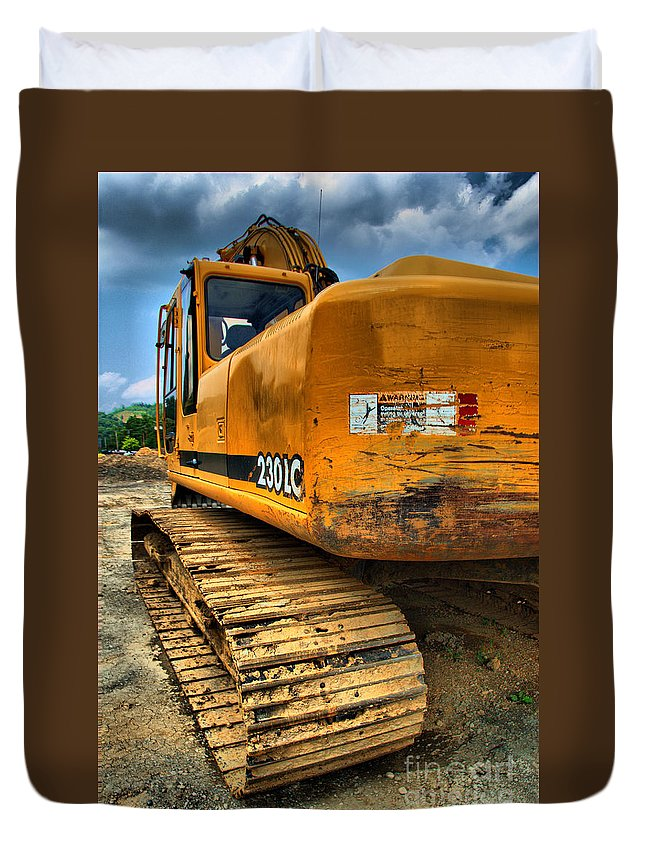 Backhoe Duvet Cover featuring the photograph Construction Excavator In Hdr 1 by Amy Cicconi